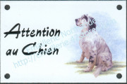 Enamel sign with dog's head (10x15cm) english setter