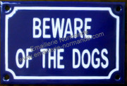 French enamel sign for dog (10x15cm) Beware of the dogs