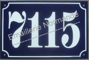 King size French blue enamel house number (20x30cm)