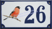 Decorated house number sign (10x18cm) : Bullfinch