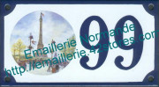 Decorated house number sign 10x15cm : Eiffel tower Paris