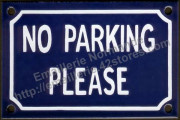 French enamel sign (10x15cm) No parking please