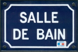 Traditional French enamel sign (10x15cm) Bathroom sign