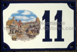 Decorated house number sign 10x18cm : Alsace