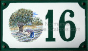 Decorated house number sign 10x18cm : lavender field