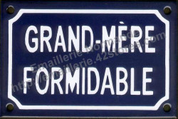 French enamel sign (10x15cm) Fantastic grand mother