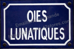 Funny French enamel sign (10x15cm) Lunatic geese - exists in singular