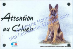 Enamel sign with dog's head (10x15cm) sitting German shepherd