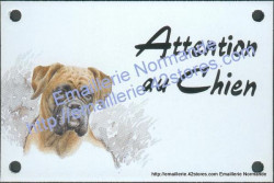 Enamel sign with dog's head (10x15cm) boxer