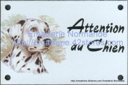 Enamel sign with dog's head (10x15cm) dalmatian dog