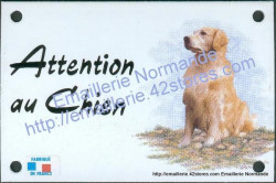 Enamel sign with dog's head (10x15cm) Golden Retriever (a)