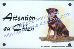 Enamel sign with dog's head (10x15cm) rotweiler (a)