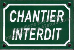 Traditional French enamel sign (10x15cm) Forbiden timber yard