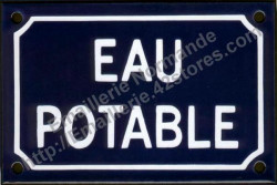 Traditional French enamel sign (10x15cm) Drinking water