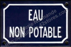 Traditional French enamel sign (10x15cm) Non-drinking water
