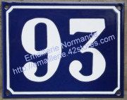 Large enamel house number sign (15x20cm) traditional writting