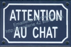 French enamel sign for cats (10x15cm) Beware cat