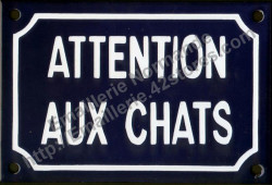 French enamel sign for cats (10x15cm) Beware cats