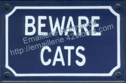 French enamel sign for cat (10x15cm) Beware cats
