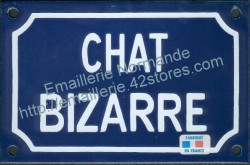 French enamel sign for cats (10x15cm) Odd cat