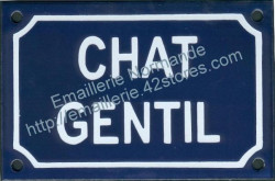 French enamel sign for cats (10x15cm) Nice cat