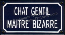 French enamel sign for cats (10x18cm) Nice cat odd owner