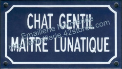 French enamel sign for cats (10x18cm) Nice cat lunatic owner