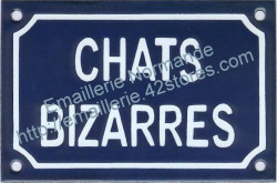 French enamel sign for cats (10x15cm) Odd cats