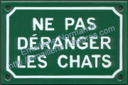 French enamel sign for cats (10x15cm) Don't disturb the cats