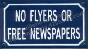 French enamel sign (10x18cm) No flyers or free newspapers