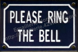 French enamel sign (10x15cm) Please ring the bell