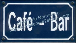Traditional French enamel sign (10x18cm) Café - bar