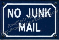 French enamel sign (10x15cm) No junk mail