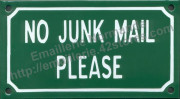 French enamel sign (10x18cm) No junk mail please