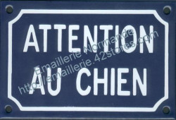 French enamel sign for dogs (10x15cm) Beware dog