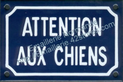 French enamel sign for dogs (10x15cm) Beware dogs