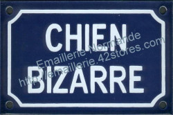 French enamel sign for dogs (10x15cm) Odd dog in french