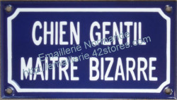 French enamel sign for dogs (10x18cm) Nice dog odd owner