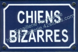 French enamel sign for dogs (10x15cm) Odd dogs in french