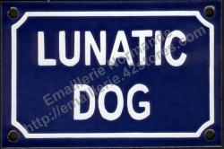 French enamel sign for dog (10x15cm) Lunatic dog