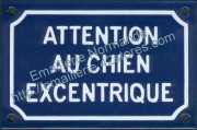 French enamel sign for dogs (10x15cm) Beware excentric dog